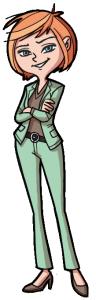 Illustration mit grünem Anzug