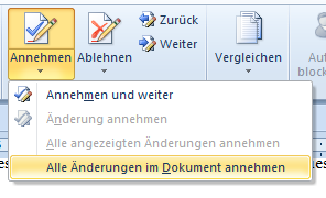 Word 2010: Alle Änderungen im Dokument annehmen - oder ablehnen