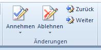 Schaltflächen, um Änderungen anzunehmen oder abzulehnen, in Word 2010
