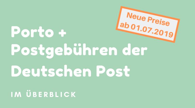 Porto und Postgebühren der deutschen Post
