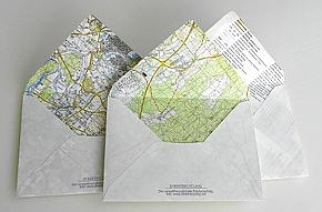 Briefumschläge aus alten Landkarten