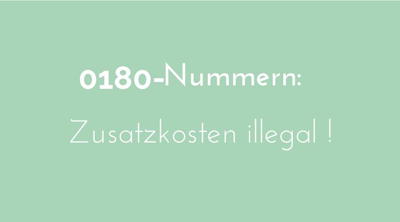 0180-Nummer zusatzkosten illegal